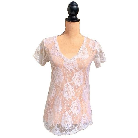 ☀️4/25 Sheer Floral Print S/S Shirt